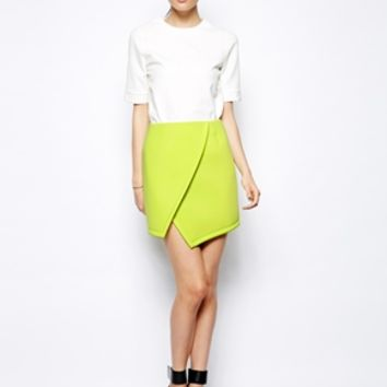 ASOS Premium Wrap Skirt In Bonded Scuba - Lime