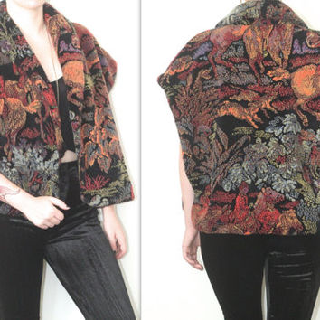 Vintage 80s Southwestern // Faux Fur Cowboy Desert Vest // Scenic Printed // XS Extra Small / Small / Medium / Large