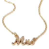 Mrs Pendant Necklace