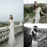 Deep V Neck Backless Short Sleeves Mermaid White/Ivory Lace Bridal Wedding Dress