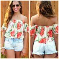 Love Me Love Me Not Floral Off Shoulder Crop Top