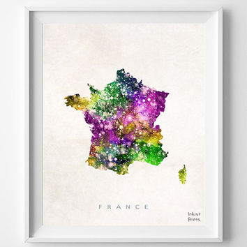 France Map, Watercolor, Gift, French, Paris, Living Room, Painting, Europe, Home Town, Poster, Art, Home, House, Bedroom, world map [NO 469]