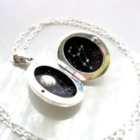 Hand-Painted Enamel Leo Constellation, Sterling Silver Locket Personalized for August Birthday