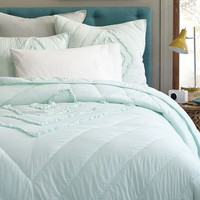 Ruffled + Ruched Quilt + Shams - Aqua