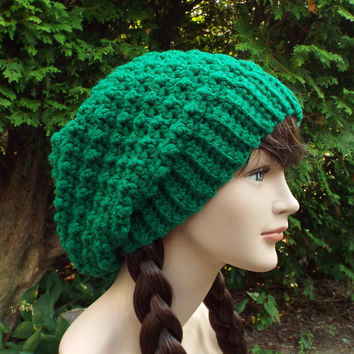 Green Slouchy Crochet Hat - Womens Slouch Beanie - Oversized Slouchy Beanie - Chunky Hat - Winter Slouchy Hat