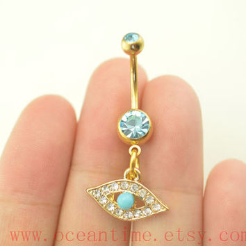 hamsa hand BellyButton Ring,evil eye Navel Jewlery,turquoise belly button rings,friendship belly ring,oceantime
