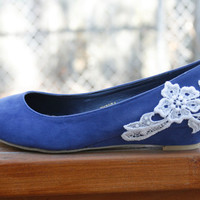 Blue ballet wedge with venise lace by walkinonair