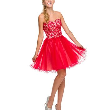 Preorder - Red Paisley Lace Up Strapless Tulle Dress Homecoming 2014