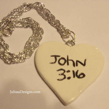 John 3:16 Amazing Grace heart shaped necklace in Black and White Reversible with Silver chain