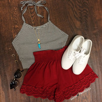 Blissful Thinking Lace Shorts - Burgundy