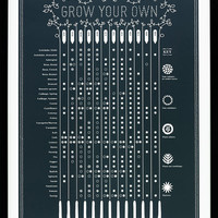 Grow Your Own Seasonal Planting Calendar - decorative screen print