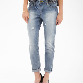 Slim Distressed Boyfriend Jeans