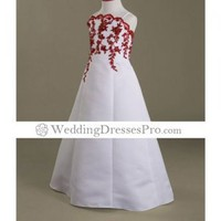 A-line Spaghetti Straps Floor-length Satin Flower Girl Dress (WSW0491) [TWL0407031] - $72.99 : wedding fashion, wedding dress, bridal dresses, wedding shoes