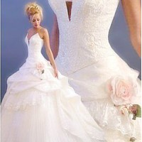 Buy discount Lovely Satin Wedding Beaded Wedding Dress at dressilyme.com