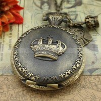 Vintage pocket watch crown necklace with antique bronze by mosnos