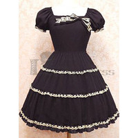 Charming Short Puff Sleeves Square Collar Cotton Black Gothic Lolita Dress [TQL120504039] - £53.59 :