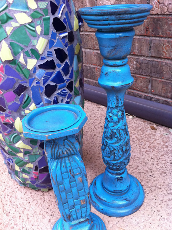 Amazing Hand Carved Wood Candlesticks Upcycled Bright by FeFiFoFun