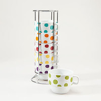 White Polka Dot Stacking Mugs, Set of 6 | Tea Time | World Market