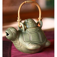 Novica Turtle Mom Ceramic Teapot | Tea Time | World Market