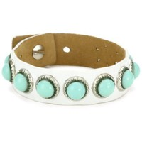Streets Ahead Turquoise Stones on White New Leather Cuff Bracelet