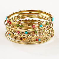 Gold Indian Beaded Bangles, Set of 9 | Jewelry and Accessories | World Market