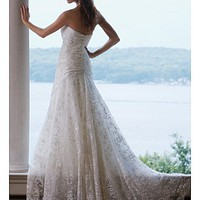 Buy discount Exquisite Elegant Divine Lace A-line Strapless Wedding Dress In Great Handwork at dressilyme.com