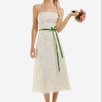 Satin Organza Strapless Bow Sash Tea Length Bridesmaid Dresses