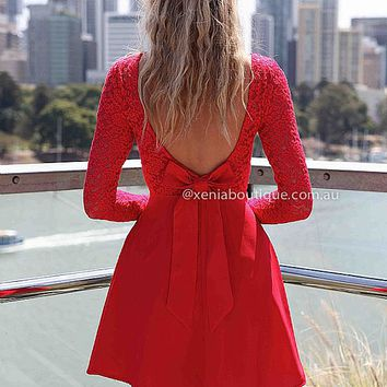 THE LUCKY ONE DRESS , DRESSES, TOPS, BOTTOMS, JACKETS & JUMPERS, ACCESSORIES, 50% OFF , PRE ORDER, NEW ARRIVALS, PLAYSUIT, COLOUR, GIFT VOUCHER,,LACE,Red,BACKLESS Australia, Queensland, Brisbane