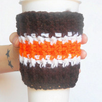 Team Colors Coffee Cozy in Brown, Orange and White, ready to ship.