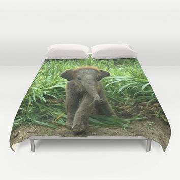Cute Elephant Baby Duvet Cover by Erika Kaisersot