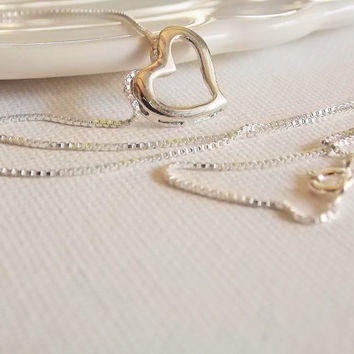 Trendy sterling floating heart necklace,dainty sterling heart necklace, lovely minimalist necklace!