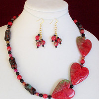 Unique Heart Necklace, Bracelet and Dangle Earring Set. Red Varicolored Heart Bracelet mixed with Black Beads,  Handmade Statement Jewelry