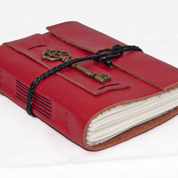 Red Leather Journal with Lined Paper and Key Bookmark