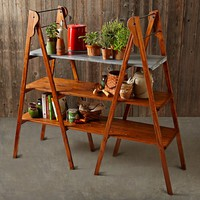 Vintage Double Library Ladder with Galvanized Shelf
