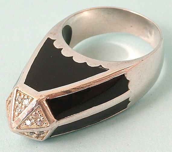 $46.68 Huge vintage 1980s sterling silver black enamel and cz by rebstuff1