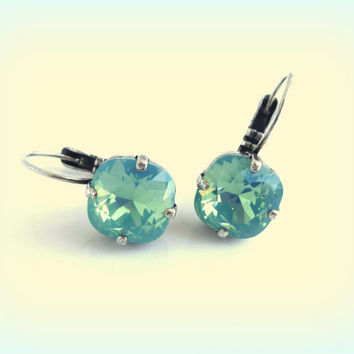 NEW Swarovski crystal earrings, square cushion cut, Pacific Opal,  designer inspired crystal earrings by Siggy, GREAT PRICE