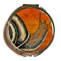 Snail Compact Mirror Pocket Mirror Large by UniqueArtPendants