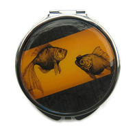 Goldfish Compact Mirror Pocket Mirror Large by UniqueArtPendants