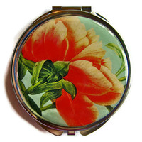 Underside of Peony Compact Mirror Pocket by UniqueArtPendants