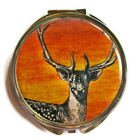 Stag Deer Compact Mirror Pocket Mirror Large by UniqueArtPendants