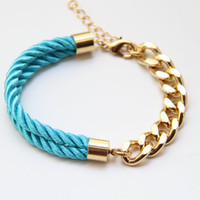 Gold chunky chain and Turquoise Silk Bracelet  24k gold by Brinkle