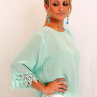 Crop Top in Mint Diamond Eyes - $49.00 | Daily Chic Tops | International Shipping
