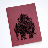 Red Moleskine XL Blank Notebook Steampunk by CrawlSpaceSquared