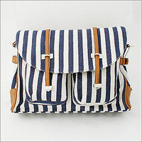 Seersucker Canvas Satchel