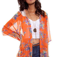 Laced Blossom Kimono Cardigan in Tangerine :: tobi