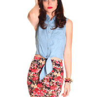 Denim Front Tie Top