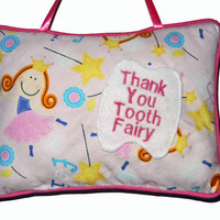 Tooth Fairy Pillow For Girls in Pink by craftcrazy4u on Etsy