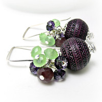 Vinatge Plum Bead Earrings Purple by TheEclecticSlide on Etsy