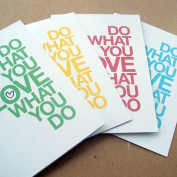 do what you love set of 4 assorted cards / mini by letterhappy
