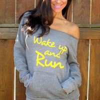 Wake Up and RUN Off the Shoulder Girly by FiredaughterClothing